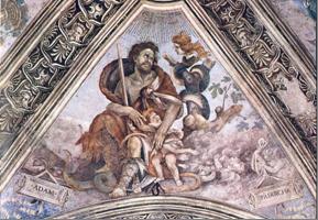 Adam, een kind beschermend tegen Lilith, het Serpent