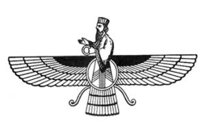 De Faravahar, het symbol van het Zoroastrisme en beeldend de Wakende Geest