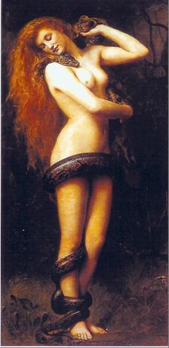 Een van de bekendste afbeeldingen van Lilith door John Collier, The Atkinson Gallery, Southport, England