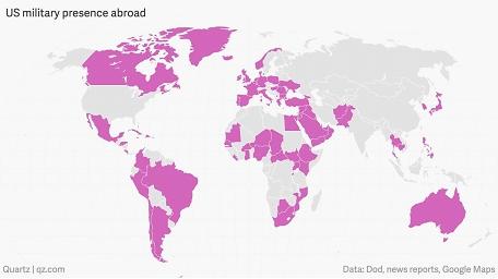 Afbeelding 1 Globale militaire aanwezigheid VS