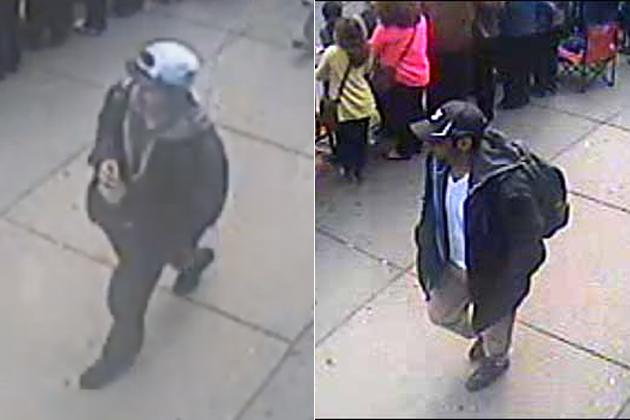 De beide broers, de vermeende daders van de Boston-marathon-bomaanslag. Een 20-jarige jongen en zijn 27-jarige broer. Ze lopen rustig wandelend, met hun snelkookpan met explosieven rond, vlak na de start van deze marathon in 2013..