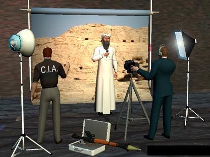 De relatie die ontegenzeggelijk bestaat tussen de CIA en het gefabriceerde 'Al Qaida', is regelmatig het onderwerp van spotprenten, zoals deze.