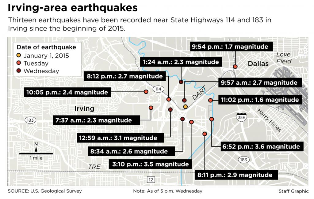 Fracking earth quake area Texas januari 2015