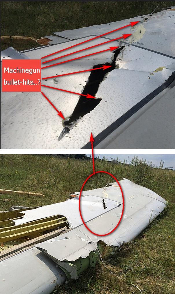 MH17 vleugelschade linksonder