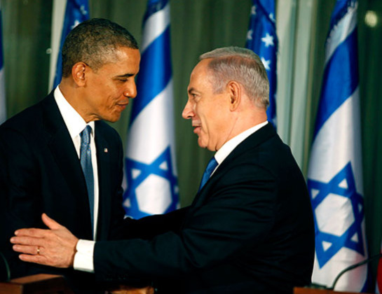 U.S. President Barack Obama (L) greets Israeli Prime Minister Benjamin Netanyahu during a press conference on March 20, 2013 in Jerusalem, Israel.
