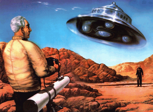 Artists impression van de ontmoeting van George Adamski met 'buitenaardsen'.