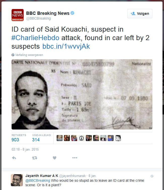 Hetzelfde verhaal op de muziek van een ander liedje.. Ook bij de 'aanslag' van Charlie Hepdo was het raak. Wat een sukkels toch, die terroristen.. Ga je op reis en vergeet je je paspoort..