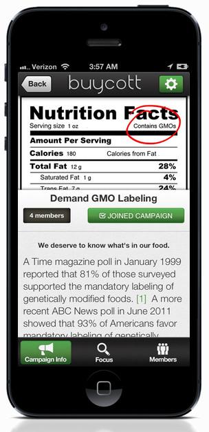 Een voorbeeld uit de VS, waar veel bedrijven het wetsontwerp om de labeling van producten die GMO-bevatten, niet te steunen..