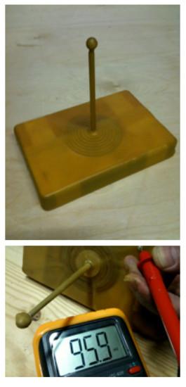De door Dr. Yannick van Doorne uitgevonden elektromagneet, verpakt in bijenwas, die onder de grond van akkers wordt begraven. De voltmeter toont de kracht van het veld dat door de bijenwas wordt gegenereerd.