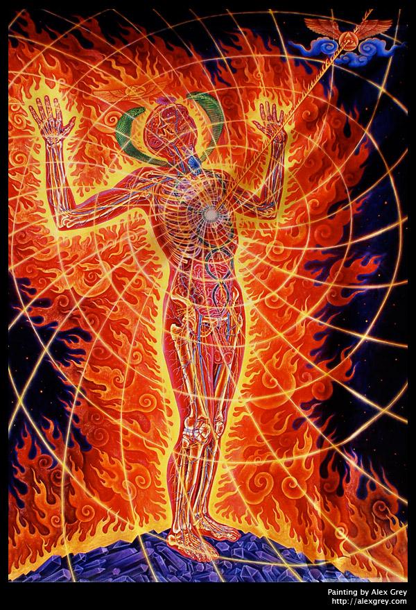 In de ogen van kunstenaar Alex Grey, is de uitstraling van het hart een 'holy fire', een 'heilig vuur'.
