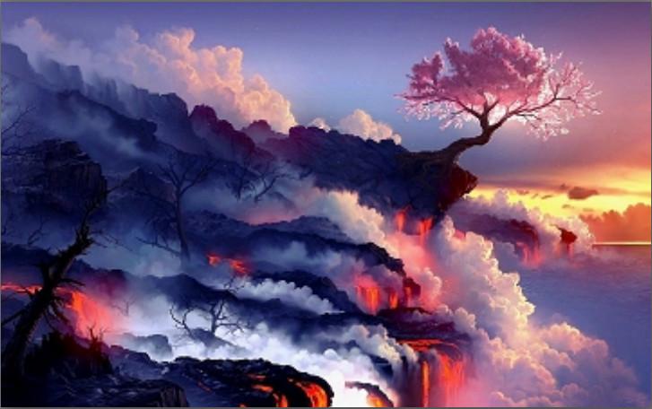 kersenboom vulkaan