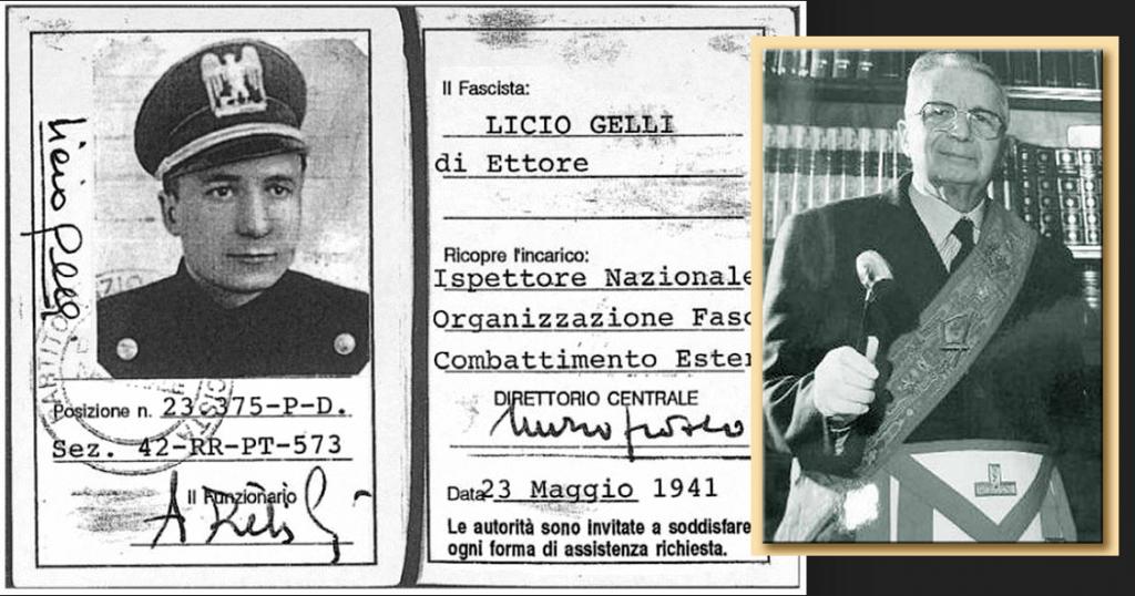 De fascist Licio Gelli, Vrijmetselaar ook. Zo glad als een aal en bescherming van 'hogerhand'.. Liet zich berechten en kwam vrij..!