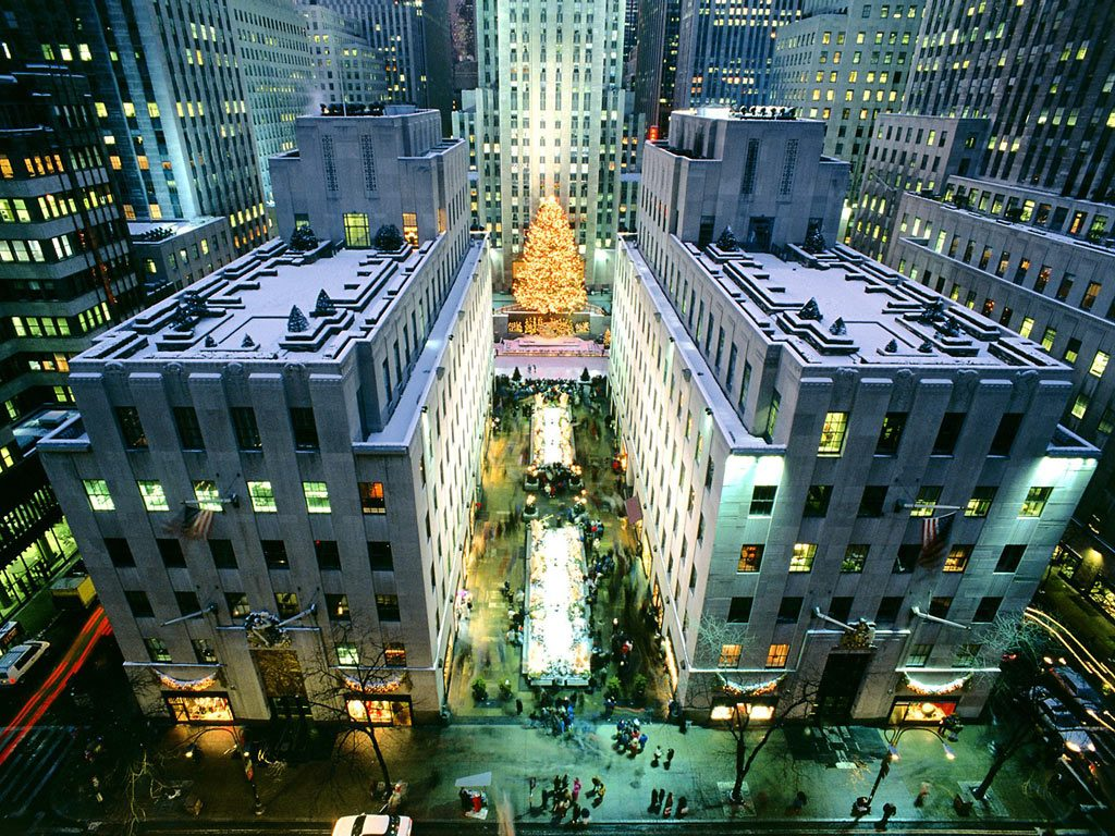 Rockefeller-center in de kersttijd, midden in hartje Manhattan/New York.