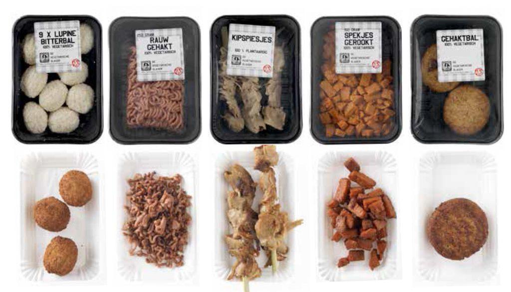 Een kleine greep uit het assortiment van de 'Vegetarische Slager'.. Zoals je ziet, helpt zelfs de 'look' met het accepteren van vleesvervangers als volwaardige vervangers van vlees en vis.