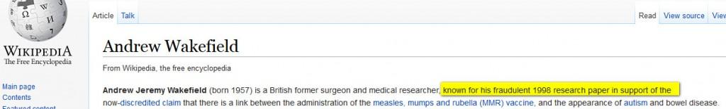 wikipedia wakefield fraude