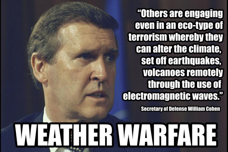 Oud-minister van Defensie, William Cohen gaf het toe: 'We gebruiken het weer als partner om onze vijand in de oorlog te verslaan..